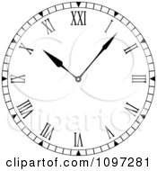 Clipart Black And White Roman Numeral Clock Face Royalty Free Vector Illustration by michaeltravers