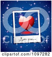 Clipart Love You Written On A Heart Instant Photo Over Blue Stars Royalty Free Vector Illustration