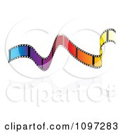 Clipart Rainbow Colored Wavy Film Strip Floating Over Reflective White Royalty Free Vector Illustration