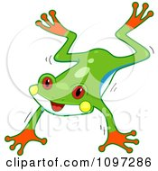 Clipart Cute Red Eyed Tree Frog Jumping Royalty Free Vector Illustration