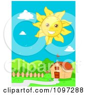 Clipart Happy Sun Smiling Over A Barn And Hilly Landscape Royalty Free Vector Illustration