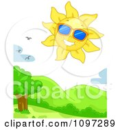 Clipart Happy Sun Wearing Shades In The Sky With Birds Over Hills Royalty Free Vector Illustration