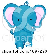 Clipart Cute Blue Elephant Walking Forward Royalty Free Vector Illustration