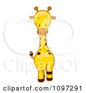 Clipart Cute Giraffe Walking Forward Royalty Free Vector Illustration