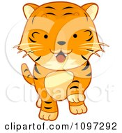 Clipart Cute Tiger Walking Forward Royalty Free Vector Illustration by BNP Design Studio