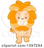 Clipart Cute Lion Walking Forward Royalty Free Vector Illustration by BNP Design Studio