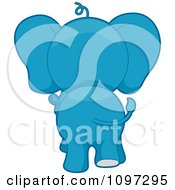 Clipart Blue Elephant Walking Away Royalty Free Vector Illustration by BNP Design Studio