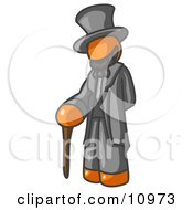 Orange Man Depicting Abraham Lincoln With A Cane Clipart Illustration