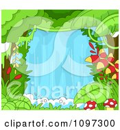 Clipart Lush Rainforest Jungle With A Waterfall Royalty Free Vector Illustration