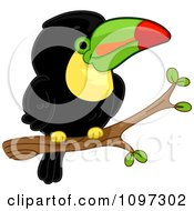 Clipart Cute Toucan Perched On A Branch Royalty Free Vector Illustration