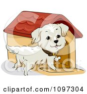 Clipart Happy Golden Retriever By A Dog House Royalty Free Vector Illustration