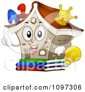 Clipart Happy Library Mascot Holding A Thumb Up Royalty Free Vector Illustration