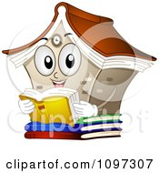 Clipart Happy Library Mascot Reading A Book Royalty Free Vector Illustration