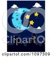 Clipart Blue Crescent Moon And Happy Stars Over A City Skyline Royalty Free Vector Illustration