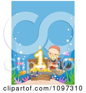 Clipart Boy Revealing A First Birthday Candle In A Sunken Treasure Chest With Copyspace Royalty Free Vector Illustration