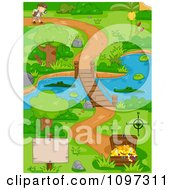 Boy Following A Path Near A Swamp And Footbridge That Leads To Treasure