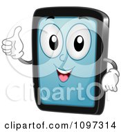 Clipart Happy Tablet Computer Mascot Holding A Thumb Up Royalty Free Vector Illustration