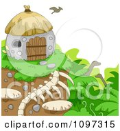 Clipart Bird Flying Over A Prehistoric Hut On A Cliff Over Dinosaurs Royalty Free Vector Illustration