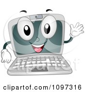 Happy Laptop Computer Mascot Waving