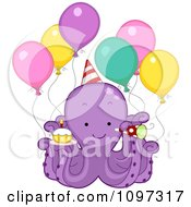 Poster, Art Print Of Cute Purple Octopus With Party Balloons A Cupcake Horn And Hat