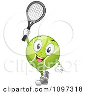 Clipart Happy Tennis Ball Mascot Holding A Racket Royalty Free Vector Illustration