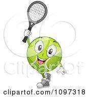 Happy Tennis Ball Mascot Holding A Racket