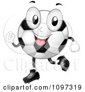 Happy Soccer Ball Mascot Jogging