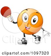 Happy Table Tennis Or Ping Pong Ball Holding A Paddle