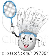 Clipart Happy Badminton Shuttlecock Mascot Holding A Racket Royalty Free Vector Illustration