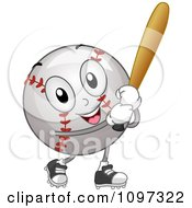 Clipart Happy Baseball Mascot Holding A Bat Royalty Free Vector Illustration