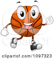 Clipart Happy Basketball Mascot Jogging Royalty Free Vector Illustration