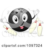 Happy Bowling Ball Mascot Knocking Over Pins