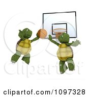 Clipart 3d Tortoises Flying Towards A Basketball Hoop Royalty Free CGI Illustration