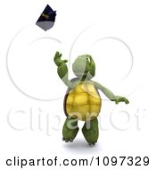 Clipart 3d Graduate Tortoise Tossing His Cap Royalty Free CGI Illustration