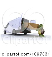 Clipart 3d Tortoises Loading Or Delivering A Large Package Into Or Out Of A Moving Van Royalty Free CGI Illustration by KJ Pargeter