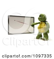 3d Tortoise Pointing A Stick At A Blank White Board