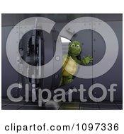 Poster, Art Print Of 3d Tortoise Waving From Inside A Bank Vault
