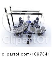 Clipart 3d Team Of Robots Working On A Race Car In A Pit Stop Royalty Free CGI Illustration