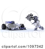 3d Winning Race Car Driver And Robot With A Checkered Flag At The Finish Line
