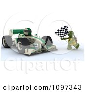 3d Winning Race Car Driver And Tortoise With A Checkered Flag At The Finish Line