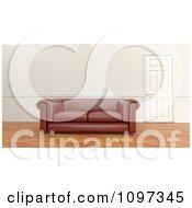 Clipart 3d Leather Sofa By A Door In A Room With Wood Floors Royalty Free CGI Illustration by KJ Pargeter