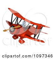 Clipart 3d White Character Waving And Piloting A Vintage Biplane Royalty Free CGI Illustration