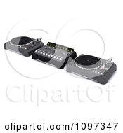 Clipart 3d Dj Mixing Desk Turn Tables And Speakers Royalty Free CGI Illustration by KJ Pargeter