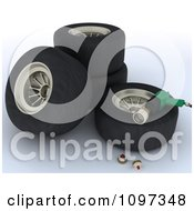 Clipart 3d Pit Stop Tires And Tools Royalty Free CGI Illustration