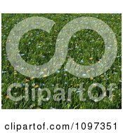Clipart Background Of 3d Colorful Wildflowers In A Meadow Of Grass Royalty Free CGI Illustration