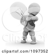 Clipart 3d White Character Holding A Transparent Light Bulb Royalty Free CGI Illustration by KJ Pargeter