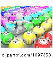 Clipart 3d White Character In Rows Of Bingo Balls Royalty Free CGI Illustration by KJ Pargeter