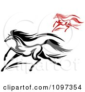 Clipart Black And Red Horses Running 2 Royalty Free Vector Illustration
