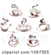 Clipart Steamy Brown Coffee Icons 1 Royalty Free Vector Illustration