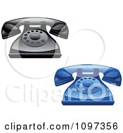 Clipart 3d Shiny Retro Desk Telephones Royalty Free Vector Illustration